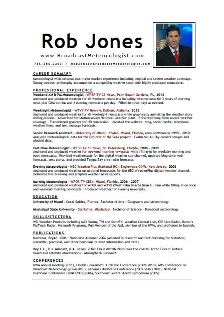 professional experience meteorologist - Meteorologist Resume